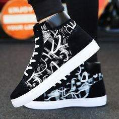 most wanted New Design Hip-Hop Fashion Graffiti High Tops Men's Shoes Casual Breathable Comfortable Rubber Sneakers Outdoor Footwear Flats Sneakers Fashion Outfits, Mens Fashion Shoes, Men S Shoes, Casual Sneakers, Girls Shoes, Casual Shoes, High Top Sneakers, Ladies Shoes, Men Casual