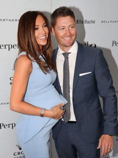 Aussie socialite Kyly Clarke and race car driver husband Michael. I love her peplum maternity outfit here!