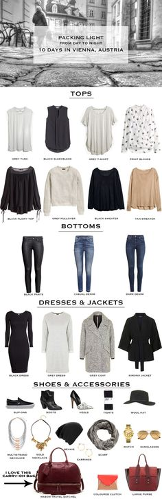 Want print blouse and blank flowy top Vienna 10 Day Packing List2