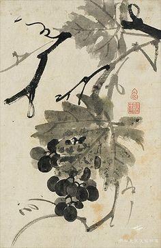 심정주(심사정의 부친), [포도], 지본수묵, 간송미술관 소장