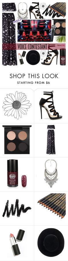 """TV Fashion: The Voice - LoveNewChic"" by dora04 ❤ liked on Polyvore featuring Jimmy Choo, MAC Cosmetics, Sigma Beauty, Eugenia Kim, thevoice and YahooView"