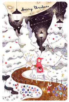 おおでゆかこ. Collage Illustration, Christmas Illustration, Christmas Night, Christmas Art, Anime Art Fantasy, Cartoons Love, Postcard Art, Funny Drawings, Pattern And Decoration