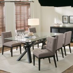 Found it at Wayfair - Sunpan Modern Broderick Dining Table 7 Piece Dining Set, Dining Table In Kitchen, Dining Room Sets, Fine Dining, Dining Area, Wooden Dining Tables, Table And Chairs, A Table, Dining Chairs