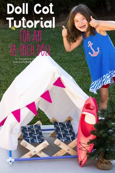 Learn how to make a doll cot for an American Girl doll or your favorite 18 inch doll with this easy tutorial.