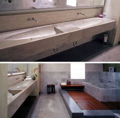 11 Creative Concrete Countertop Designs To Inspire You | This bathroom has a concrete countertop with dual sinks in an elliptical design.