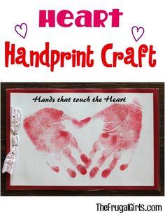 Valentine Heart Handprint Craft for Kids! ~ from TheFrugalGirls.com ~ such fun hand print crafts for children to make at Valentine's Day, Mother's Day, etc! #handprints #thefrugalgirls