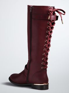 Lace Up Back Knee Boots (Wide Width & Wide Calf),