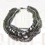 Gypsy Soule black, silver & antiqued silver multi chain necklace