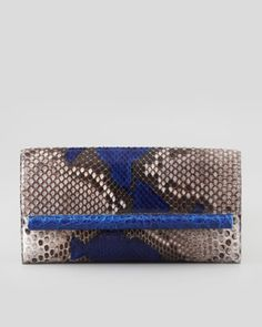 Python Crocodile-Bar Clutch Bag, Ocean by Nancy Gonzalez at Bergdorf Goodman.