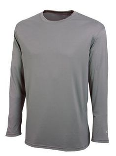 Champion Men's Double Dry Long Sleeve Tee, S-Stone Gray Large