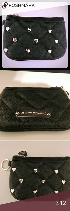 Betsy Johnson Coin Purse Stylish coin purse that is a perfect size to keep IDs/cards. Used only twice. No exterior scratches or blemishes.   .Faux leather .Gold hardware .Beautiful rose print lining Betsey Johnson Bags Wallets