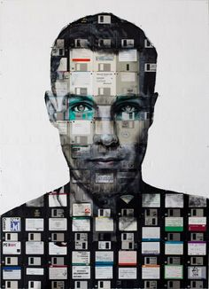 Nick Gentry Art (UK: 1980) - SELF PORTRAIT 4 (2014) - Oil paint and used computer disks on wood 113cm x 81cm