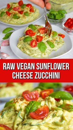 Courgetti Sunflower Seed Cheese Raw zucchini pasta salad with vegan sunflower cheese sauce. Easy to make healthy courgette pasta that's raw vegan, dairy-free, low carb and nut-free. Suitable for paleo, keto, gluten-free and grain free diets. Raw Vegan Recipes, Vegan Foods, Vegan Dishes, Vegetarian Recipes, Healthy Recipes, Raw Vegan Dinners, Vegan Raw, Courgette Recipe Healthy, Vegan Recipes For Beginners