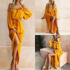 Womens Long Maxi Dress Off Shoulder Frill Bandage Dresses Evening Party Cocktail Ball Gown Dresses, Evening Dresses, Bandage Dresses, Yellow Dress Summer, Off Shoulder Dresses, Boho Dress, Nice Dresses, Ebay, Evening Party