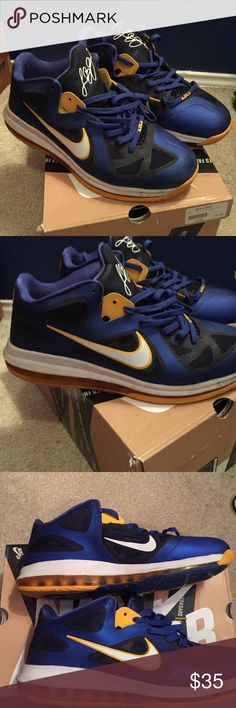 Lebron 9 Low Entourage Comfy. Can be used for basketball or other wear. Does not come with a shoe box. Good condition, but pretty used. Nike Shoes Athletic Shoes