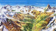 Zermatt Switzerland summer map - Zermatt Switzerland • mappery