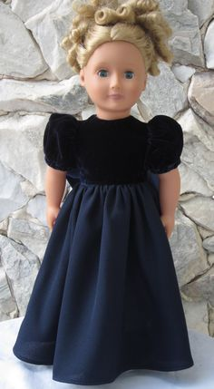 Navy blue velvet and crepe full length gown for by TinaDollDesigns, $26.00. SOLD OUT