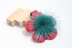Children/Girls/Baby girl Christmas hair clip - Red glitter flower by JigulinsHA on Etsy