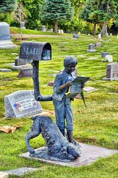 Travis must have loved getting mail ~ Salt Lake City Cemetery, Utah. I've been to this cemetery several times and some how missed this headstone. Time to go on a scavenger hunt! Cemetery Monuments, Cemetery Statues, Cemetery Headstones, Old Cemeteries, Cemetery Art, Graveyards, Salt Lake City Cemetery, Unusual Headstones, Cemetery Angels