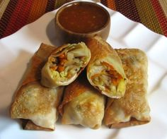 Baked vegetable egg rolls. Gotta be better for you than the ones in the freezer section!