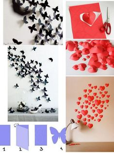 ideas for origami flowers butterflies Easy Diy Crafts, Diy Arts And Crafts, Paper Crafts, Diy Origami, Origami Flowers, Paper Flowers, Butterfly Crafts, Diy For Girls, Diy Wall Art