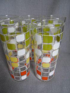 Set of 5 Vintage 1960s Glasses Barware Abstract by SlyfieldandSime, $26.00