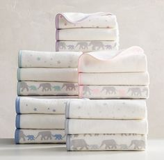 RH baby&child's Petite Nursery Washcloth Set:Printed with our signature design, our soft Turkish cotton washcloths reverse to lightweight cotton terry – an extra-gentle choice for baby's first bath.