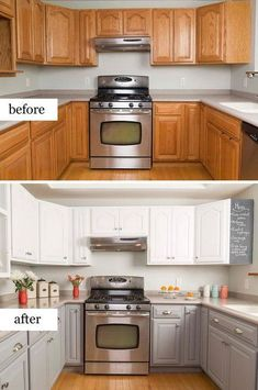 Before And After Kitchen Makeovers Simple Kitchen Makeover with Painted Cabinets.Simple Kitchen Makeover with Painted Cabinets. Kitchen Cabinets Before And After, Update Kitchen Cabinets, Kitchen Upgrades, Kitchen Redo, Kitchen Makeovers, Kitchen Remodeling, How To Paint Kitchen Cabinets White, Repainting Kitchen Cabinets, Diy Kitchen Makeover