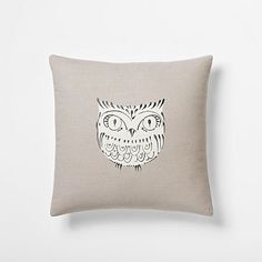 Embroidered Owl Pillow Cover #westelm