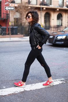 ★ //» New Balance, leather jacket, and cool short hair.