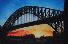 Harbour Bridge – Sydney, Auastralia, aquarelle, 54 x Arches original is SOLD, Exclusive high end imprint on aquarelle paper - 100 Euro Sydney Harbour Bridge, Arches, Bridges, Euro, The Originals, Paper, Travel, Life, Viajes