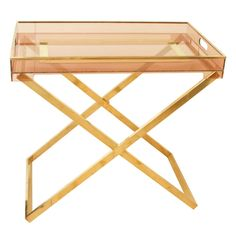 "Lucite & Brass ""X"" Stand Server"