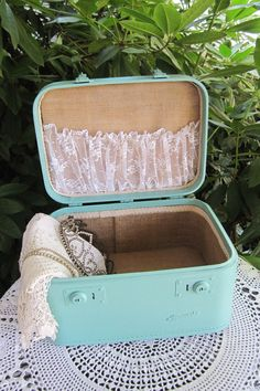 Teal Blue Vintage 60s Train Case Wedding Card Case by QuirkyQuail