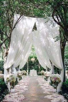 Soft flowy white curtains for the wedding ceremony aisle inspiration # outdoor wedding garden Simply Elegant Rustic Wedding Table Runner, Cheesecloth Table Centerpiece,Photo Back Drop, New Born Wedding Ceremony Ideas, Wedding Table, Fall Wedding, Wedding Events, Outdoor Ceremony, Wedding Reception, Elegant Backyard Wedding, Trendy Wedding, Diy Wedding