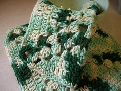 Cotton Crocheted Dishcloth in Shades of Green by roadstoeverywhere, $6.75