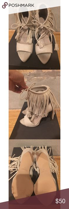 Fringe Heels High heels with fringe, open-toe, beige, like new condition (wore once to an event), beautiful shoe, very chic and trendy. Zara Shoes Heels