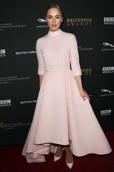 Suki Waterhouse wears a stunning textured gown by Emilia Wickstead // Trend Report: The Delicate Color That's Perfect For Date Night