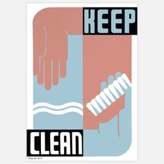 Keep Clean 17x22, $41, now featured on Fab.