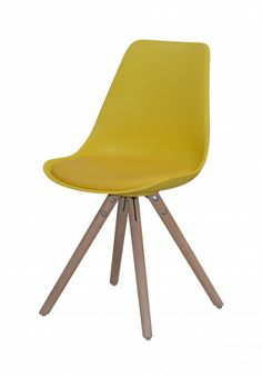 Stuhl Woody. Erhältlich in gelb, orange, türkis, weiß und grau