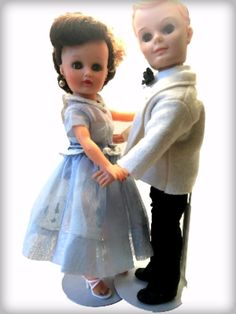 Uneeda Tiny Teen Suzette & Bob Vintage Fashion Doll Set 2 1957 Senior Prom Twist #Uneeda #DollswithClothingAccessories