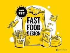 Fast Food Design - Pollen Brands Food Branding, Branding Design, Jr Bacon Cheeseburger, Starch Foods, Air Max Classic, 100 Logo, Food Advertising, Healthy Food Options, Eat Pizza