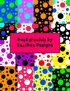 This is a small sample of the 108 fun and festive digital background papers in big colorful polka dots and coordinating smaller polka dots for your TpT products, classroom posters, labels and more! 54 portrait designs, and 54 landscape designs. Easily resizable 300 DPI, PNG. $