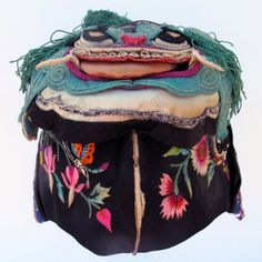 533-Tiger Topped Embroidered Chinese Hat - Vintage and Antique Chinese Children's Hats - Textile Treasures