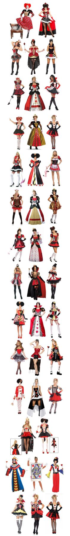 The Queen of Hearts.  She may not be the most popular Disney Villains, but she definitely has the most Halloween costumes!  Here are forty -- that's right --- FORTY different Queen of Hearts costumes -- and there are more out there!