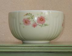 Hall Mixing Bowl - ribbed and draped with pink flowers by AGildedNest Vintage Bowls, Vintage Tins, Vintage Dishes, Hall Pottery, East Liverpool, Kitchen Dishes, Pink Flowers, Pink And Green, Greenery