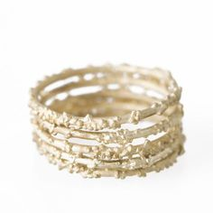 gold encrusted stacking rings
