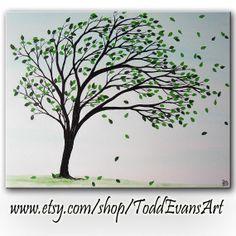 SALE TODAY, Spring Tree Art Silhouette Paintings, Canvas Wall art decor 16x20, Original painting,  trees, Tree paintings, Todd Evans Art
