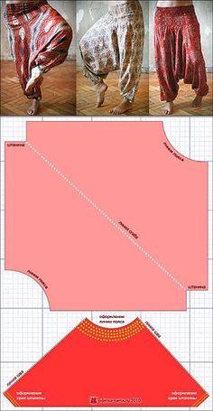 Cómo coser afganos? modelo pantalones-Aladdin ..