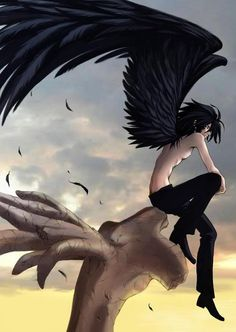 Anime Boy with Angel Wings | name tomaru age 21 species black winged angel gender male height 5 8 ...