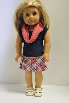 American Girl Doll Clothes PInk Navy Blue and by CircleCSewing, $15.00